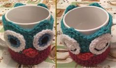 Janus the Owl Coffee Cup Cozy Free Crochet Pattern