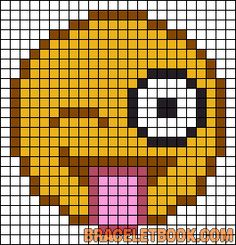 Emoji sacando la lengua y guiñando el ojo plantilla en hamma bead