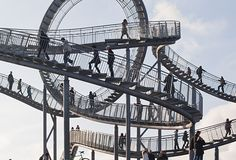 Once more the German (Duisburg) green roller coaster.     Artists: Heike Mutter & Ulrich Genth.   Name of the sculpture: Tiger & turtle magic mountain.