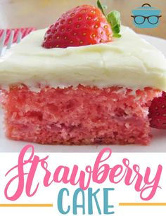 fresh strawberry cake Ingredients: FOR THE CAKE: 1 box vanilla, white or yellow cake mix;) box strawberry gelatin mix (Jell-O); 1 pint fresh strawberries (or 1 cup crushed fresh strawberries) F Fresh Strawberry Recipes, Strawberry Cakes, Strawberry Muffins, Strawberry Jello, Strawberry Picking, Fresh Fruit, Strawberry Cupcake Recipe Using Cake Mix, Strawberry Glaze, Fresh Cake