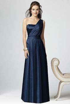 Brides.com: Bridesmaid Dresses in Every Shade of Blue. Blue Bridesmaid Dress: Dessy. Full-length, one-shoulder dress, style 2863, $250, Dessy  See more Dessy bridesmaid dresses.  Shop this look at Weddington Way.