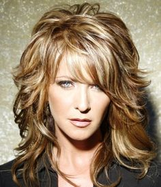 2012 Hair Trend - Layered bangs and Medium Long wavey layers, steep layers with three color foil
