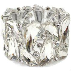 Iceberg Clear Wide Crystal Prom Bracelet Elegant Formal Jewelry