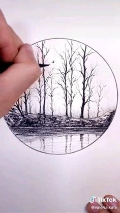 Art Drawings Sketches Simple, Art Drawings Beautiful, Pencil Art Drawings, Art Drawings For Kids, Cool Drawings, Tree Pencil Sketch, Landscape Drawings, Landscape Drawing Tutorial, Landscape Sketch