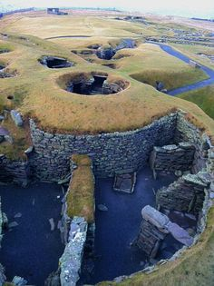 """Jarlshof is the best known prehistoric archeological site in Shetland, Scotland. It lies near the southern tip of the Shetland Mainland and has been described as """" one of the most remarkable archeological sites ever excavated in the British Isles """"."""