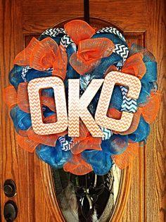 Fantastic Oklahoma City Thunder Blue and Orange Mesh Wreath with Blue Chevron Ribbon and Orange and White OKC Chevron Letters