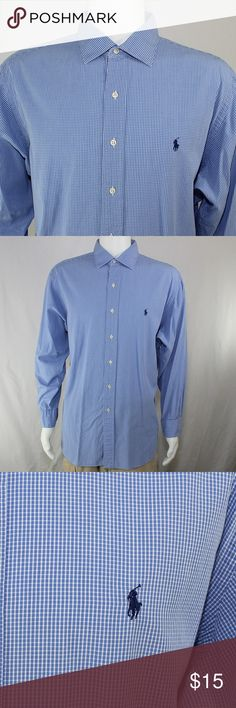 """Polo Ralph Lauren Philip 17 1/2 34-35 Blue Checker Description: Pre-owned, great used condition. No stains or holes.  Approximate Dimensions: Sleeve length: 33 1/4"""" (84cm) Chest: 54 1/2"""" (138cm) Shirt length: 31 1/4"""" (79cm)  Specifications: Size (on tag) 17 1/2"""" 34-35 (men's) RN: 641381 Made in Hong Kong Polo by Ralph Lauren """"Philip"""" 100% Cotton  Washing Instructions: Machine wash warm. Only Non-Chlorine Bleach as needed. Tumble Dry low. Steam iron medium.  Inventory #: Box 1 003 Item…"""