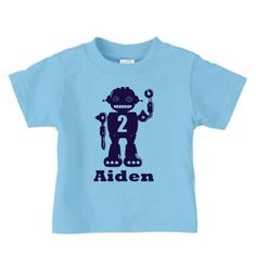 Personalized robot birthday t shirt, boy robot name and number birthday shirt on Etsy, $16.00
