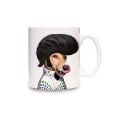 Pets Rock Mugs - Elvis Presley Dog Coffee Tea Ceramic Cup Mug on Yellow Octopus #coffeecup #teacup #elvispresly #kriskringle #mug
