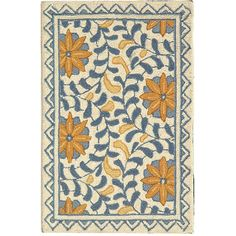 <li>Masterfully designed rug will instantly transform your home</li> <li>Contemporary rug features bright hues of blue and gold on an ivory background</li> <li>Area rug is hand-tufted with pure virgin wool pile</li>