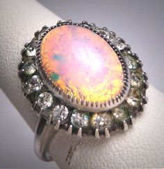 Antique Opal Paste Ring Sterling Silver by AawsombleiJewelry