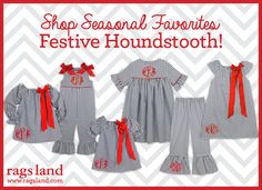 Our Rags Land Festive Houndstooth Collection! Shop NOW at www.ragsland.com & follow Ragsland on Instagram!