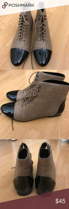 Dolce Vita Sweet Life Patent Tip Boot Size 7 Taupe lace up boots with black patent tip by Dolce Vita Sweet Life. Purchased at Urban Outfitters. Worn once and in great condition. Dolce Vita Shoes Lace Up Boots