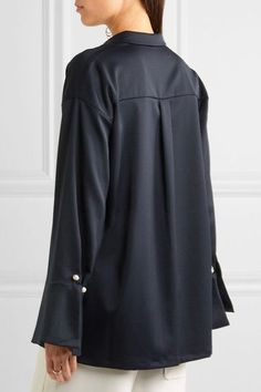 Mother of Pearl - Chester Embellished Jersey Shirt - Navy - UK8