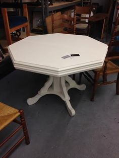 Beautiful old white dining table $250 Now in our #owensound store #furniture #homedecor #shoplocal #chalkpaint