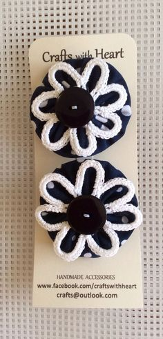 Yoyo's, crochet  french barrette 4.5 cms crafts@outlook.com