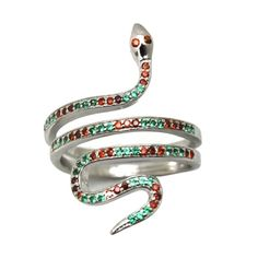 Amazon.com: Multicolor Mortality Snake Ring Simulated Emerald Simulated Micro Pave Round Ruby CZ 925 Sterling Silver: Clothing