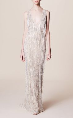 Sleeveless Pearl Fringe Gown by MARCHESA for Preorder on Moda Operandi