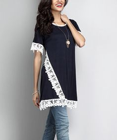 Loving this Navy Lace-Accent Boyfriend Tunic on #zulily! #zulilyfinds