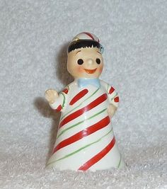 Boy has dark black hair and wears a candy cane outfit with matching cap and he holds his hand out as if saying 'hello'. He has a cute face with big eyes and smile. Measures approx. Retains his '. | eBay!