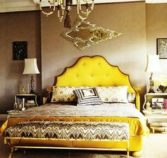 Love the combo of headboard shape and bench fabric.