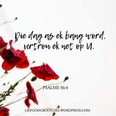 """PSALMS 56:4 Die dag as ek bang word, vertrou ek net op U.  Waarvoor is jy bang? Is daar enige gebiede in jou lewe wat gesmoor word as gevolg van vrees ? Die duiwel bring vrees, maar jy kan kies om nie jou knie te buig tot dit nie. Dawid het gesê: """"Wanneer ek bang is, sal ek in U vertrou""""#LiefGodGrootliks Bible Quotes, Bible Verses, Afrikaans Quotes, Prayers, Things To Think About, Wisdom, Center Stage, Lettering, Sunday School"""