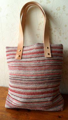 Red Handbag leather handbag cotton handbag striped by RueCortot, $32.00