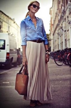 Pleated skirt and jeans