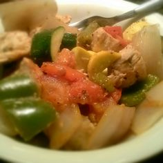 FINALLY PHASE FOUR!  Chicken breast, grilled zuchini, squash, onions, tomatos, green peppers, after lifting and abs