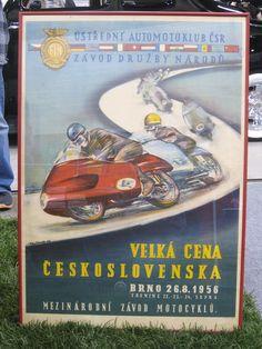 Gilera Motorcycle Racing Poster - 1956