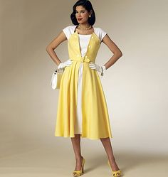 1950s-style dress sewing pattern from Retro Butterick. Love the inset with buttons detail. Reissue from 1953. B6211, Misses' Dress and Belt