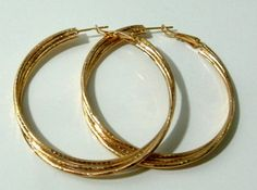Yellow Gold Plated Earrings Hoop Womens Girls Leverback 9k Hypo Allergenic Large #Unbranded #Largehoopearrings