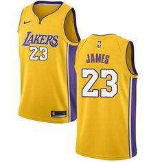 b77af3784b4 Nike Los Angeles Lakers  23 LeBron James Gold NBA Swingman Icon Edition  Jersey