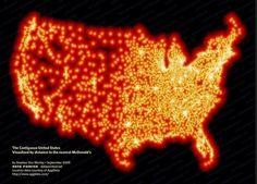 Difunden un mapa de Estados Unidos donde cada luz es un McDonald's. Fuente: National Geographic.