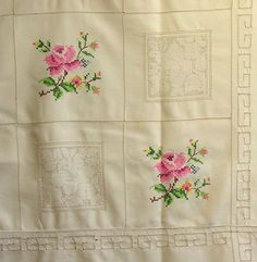English Rose Linen Table Cloth by agoodvintage on Etsy