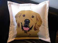 "SHIPS TOMORROW Golden Retriever 20"" pillow pet rescue benefit painted dog canine best friend fundraiser shelter Crabby Chris Original"