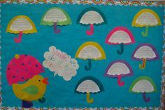"""""""Waddle We Do If It Rains?"""" with umbrella writing templates is a creative idea for a spring bulletin board display."""
