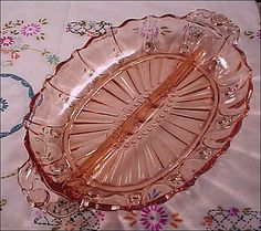 Vintage 1930's Pink Depression Glass OYSTER AND PEARL Divided Serving from firesidetreasures on Ruby Lane