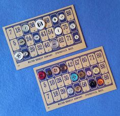 Lotto Buttons - 12 Vintage Buttons on a Vintage Lotto Game Card by plarnstar