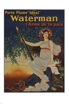 waterman IDEAL FOUNTAIN PEN vintage ad PARIS prized poster 1919 PEACE 24X36