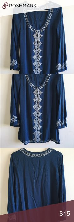 Blue bohemian tunic Tunic with embroidery detail. Love Stitch Dresses Mini