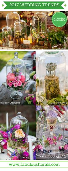 2017 wedding trends! CLOCHE Bell Jar Centerpieces and decor .  Your #1 source for wholesale DIY wedding flowers! #cloche #diyflowers #weddingflowers  #weddinggreenery #weddingtrends #belljar #clochecenterpiece #belljarcenterpiece #frenchwedding #2017wedding
