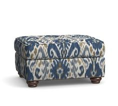 Webster Roll Arm Upholstered Ottoman with Bronze Nailheads, Polyester Wrapped Cushions, Ikat Geo Blue