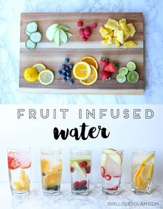 Fruit Infused Water Combinations on www.girllovesglam.com Fun Drinks, Yummy Drinks, Healthy Drinks, Healthy Recipes, Beverages, Healthy Water, Detox Drinks, Eat Healthy, Healthy Habits