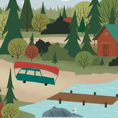 We're Going Canoeing - Boat Launch - a short turnoff from the highway and down to the dock. Canoeing road trip wall art. #canoeingroadtrips #weregoingcanoeing #letsgocanoeingnow #letsgocanoeingtoday #Iwishiwascanoeing #canoeingaddiction #canoeingadventure #Canoeinglifeforme #canoeingart #canoeingartwork