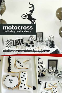 Black and white cool combine in a fun way at this boy's motocross birthday party, styled and photographed by Kristie Tracey of The Cake Pop Queen. Monochromatic decorations pair with a coordinating birthday cake, and Motocross Birthday Party, Motorcycle Birthday Parties, Dirt Bike Party, Dirt Bike Birthday, Motorcycle Party, Motocross Baby, Boy First Birthday, First Birthday Parties, Birthday Party Decorations