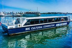 """Cultural Connector leaving the Seaport Dock at Fan Pier in Boston Harbor. The """"Cultural Connector"""" boat connects several of Boston's major attractions with three stops: (1) New England Aquarium at Central Wharf, (2) Boston Children's Museum at Fort Point Channel and the (3) Institute of Contemporary Art (ICA) at the Seaport / Fan Pier. Also, nearby the stops are the Boston Tea Party Ships and Museum, Faneuil Hall and USS Constitution Museum. #Boston #BostonHarborCruises #BostonHarbor"""
