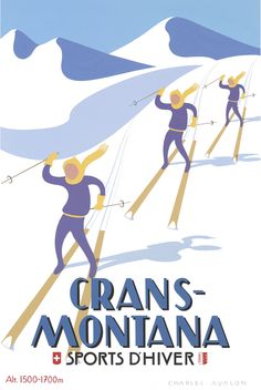 PEL120: 'Crans-Montana: Synchronised Skiers' - by Charles Avalon - Vintage travel posters - Winter Sports posters - Art Deco - Pullman Editions