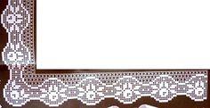 """Da revista """"Croché arte e tradição"""", duas pontas com canto.  manela"""