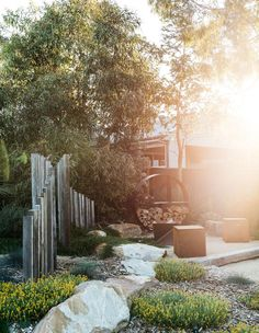 Fallbrook A Native Garden Made With Recycled Renovation Debris Raising Baby On The Cheap Have you ev Australian Garden Design, Australian Native Garden, Dry Garden, Coastal Gardens, Garden Landscape Design, Backyard Landscaping, Coastal Landscaping, Backyard Ideas, Dry Creek
